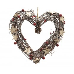 Corazón natural con adornos...