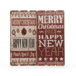 Cartel navideño madera dos...